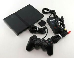 Sony PlayStation 2 Slim SCPH-77001 (PS2) Black Console w/Controller Tested