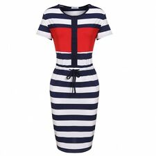 """JAQUEL"" LADIES GORGEOUS SIZE 10 RED BLUE & WHITE STRIPE STRETCH CASUAL DRESS"