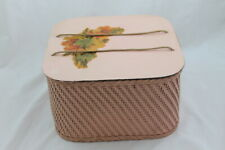 Vintage Floral Pink Shabby Wicker Square Sewing Basket Flower Decal Princess?