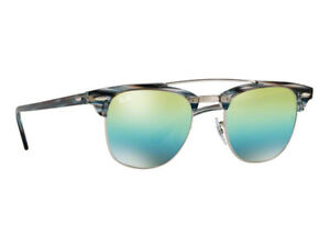 RAY-BAN RB 3816 1239/12 CLUBMASTER DOUBLE BRIDGE GREEN/BLUE MIRROR LENS ITALY