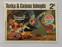 VINTAGE STAMP💎1980💎2 cent Disney Turks and Caicos islands Pinocchio #442-51💎