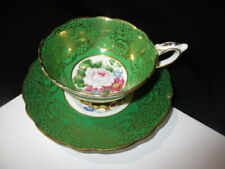 CUP SAUCER ROYAL STAFFORD EMPRESS FLOATING WHITE ROSE GOLD LACE ON EMERALD GREEN