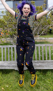 Run & Fly 80's/90's style unisex baggy  Black Twill spectrum  star Dungarees