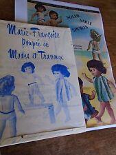 """T3 PATRON POUPEE """"MARIE FRANCOISE"""" M & TRAVAUX"""" MAILLOT DE BAIN ET VESTE  1966"""