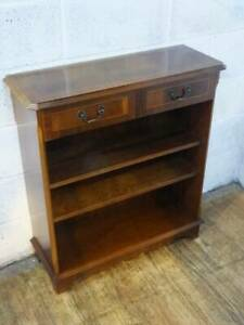 MAHOGANY VENEER HALL FLOOR STANDING BOOKCASE With TWO DRAWERS.