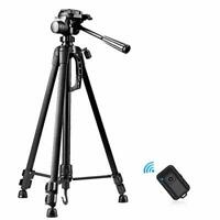 "Camera Tripod,  55"" Extendable Phone Tripod with Bluetooth Remote"