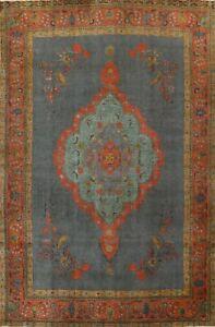 Vintage Overdyed Handmade Tebriz Area Rug Evenly Low Pile Wool Oriental 10'x13'