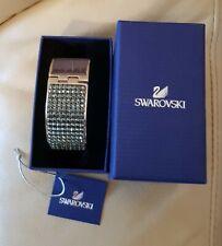Genuine Swarovski Intervalle Crystal & Grey leather Cuff Bangle In Box &Tag
