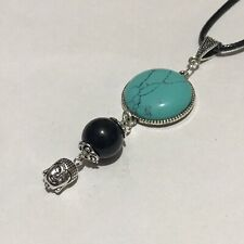 Flapper//1920/'s style long silver necklace Oval blue goldstone pendant and tassel