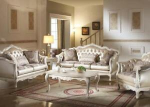 Acme Furniture Chantelle Sofa and Loveseat Pearl White Living room 53540