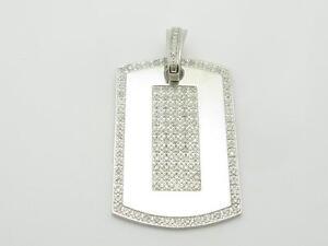14k White Gold & White Diamonds Dog Tag Design Large Charm Pendant Gift