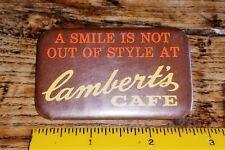 Vtg Rare 1980's LAMBERT'S CAFE (MO) Missouri PIN~Promo Button-Lot L2