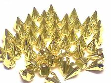50pcs 15mm GOLD Acrylic CONE SPIKES sew on, stitch on, stick on Embellishments