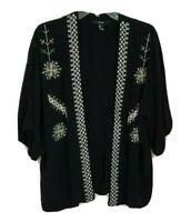 FOREVER 21 Women Short Sleeve Open Front Cardigan Silky KIMONO Boho Black Medium