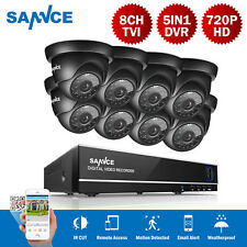 SANNCE 8X720P 1MP Dome CCTV Camera 5IN1 8CH DVR Video Security Cameras System uk