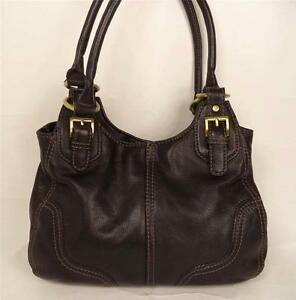BLACK LEATHER BAG HANDBAG DOUBLE STRAPS