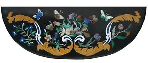 "18""x28"" Marble Half Console Table Top Multi Floral & Butterfly Inlay Decors B422"
