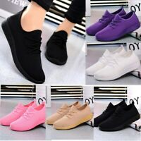 US Women Ladies Mesh Flat Shoes Breathable Casual Sneakers Sports Running Shoes