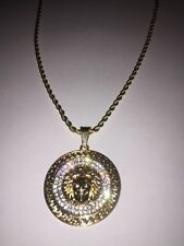 Medusa Head Pendant Gold Chain Necklace Shiny Iced Bling Icy