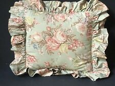 RALPH LAUREN Vintage *CHARLOTTE RUFFLE THROW Pillow SHAM Floral Green Shabby