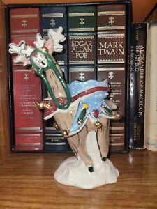 Bkue Sky Clayworks-Heather Goldminc- Reindeer In The Snow Tealight Holder NWT