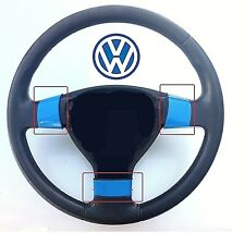 VOLKSWAGEN GOLF MK5 & GTI (2004-08) 3 SPOKE STEERING WHEEL TRIMS - AZURE BLUE