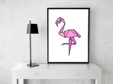 Estilo geométrico origami moderno Rosa Flamingo A4 Impresión Pared Arte Cartel