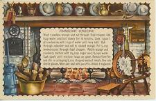 VINTAGE SPINNING WHEEL FIREPLACE CRANBERRY JAM RECIPE PRINT 1 CAT BAKERY CARD