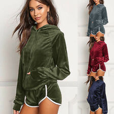 Women Hooded Loose Tracksuits Winter Long Sleeve Top Shorts Suit Set SK