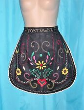 VINTAGE 50's Black Cotton COLORFUL Embroidered Design PORTUGAL Kitchen APRON