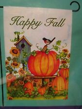 "Small House/ Garden Flag 12.5"" x 18""  ""Happy Fall"",Bird House, Pumpkins"