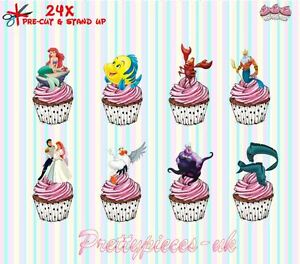 Little Mermaid 24 Stand-Up Pre-Cut Wafer Paper Cup cake Toppers