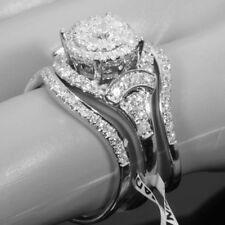 3Pcs Princess Cut 925 Silver Filled White Topaz Gem Wedding Engagement Band Ring