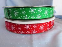 25mm Red or Green Snowflake Grosgrain Ribbon in 1m, 5m, 10m and 25m