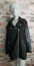 Warehouse Black Wool Coat with Faux Leather Sleeve size 14 UK Autumn/Winter