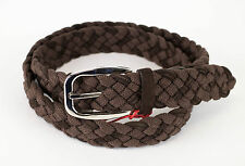 New BRIONI Brown Fabric W/ Leather Braided Silver Buckle Belt 50 US 130 EU $450