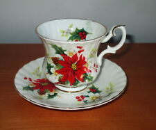 Royal Albert Christmas Poinsettia Demitasse Cup Saucer Montrose Shape England