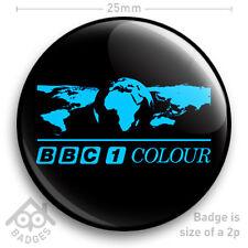 "BBC 1 COLOUR WORLD Television TV Logo Badge 1970's 1980's -  25mm 1"" Badge"