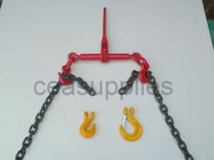 """RATCHET LOAD BINDER 3/8 -1/2"""" 8mm/10mm WITH CHAIN TIE DOWN STRAPS DOG DWANG"""