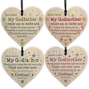 Personalised Thank You Godmother Godfather Wooden Heart Birthday Christmas Gifts