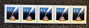 2011USA #4496 44c Patriotic Quill & Inkwell - Coil Strip of 5 - Mint NH  pen