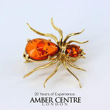 Italian Made Baltic Amber in 18ct Gold Spider Brooch GB0004/18ct RRP£760!!!