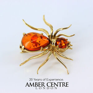 Italian Made German Baltic Amber In 18ct Gold Spider Brooch GB0004/18ct RRP£795!