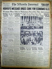 1930 newspaper w President HERBERT HOOVER SPEECH on ENDING THE GREAT DEPRESSION