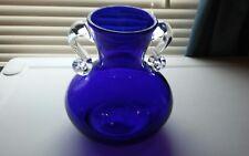 Gorgous Cobalt Blue Glass Vase with Clear Applied Handles