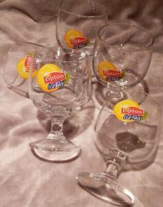 Lipton Ice Tea Stenmed Glasses x 5