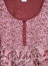 NEUF FEMMES 3/4 BRAS Tunique longue chemise bordeaux rouge multicolore col rond