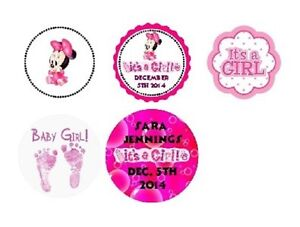 216 Disney Baby girl Minnie Mouse Shower Hershey Kiss Labels Sticker Personalize