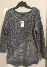 Lucky Brand  Long Sleeve Cable Knit Pullover Sweater NavyGray Multi L NWT $69.50