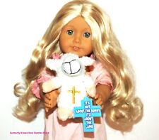 Easter Lamb w/ Cross Card 18 in Doll Clothes Accessory Fits American Girl Dolls